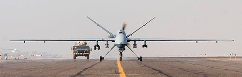 MQ9 Reaper drone taking off in Afghanistan