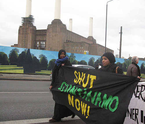 Free Shaker Aamer demo outside Battersea Power Station, London