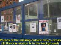 photos of the missing outside King's Cross Station, London