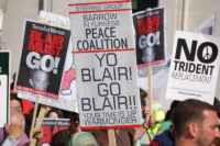 Barrow Peace Coalition banner outside the Labour Party Conference, 23 September 2006