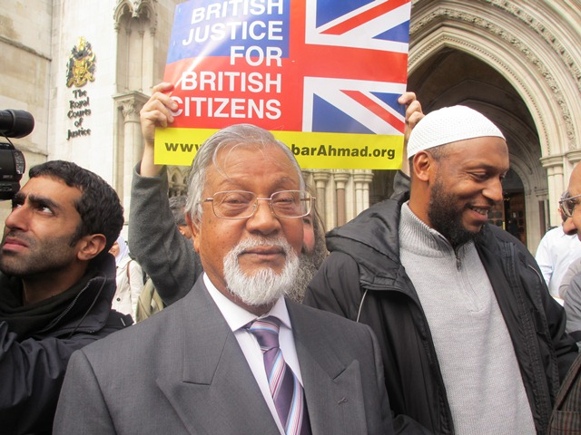 Talha Ahsan's father outside the Royal Courts of Justice