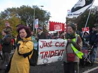 Cut Trident banner; demo against cuts, London, 20 Nov 2010