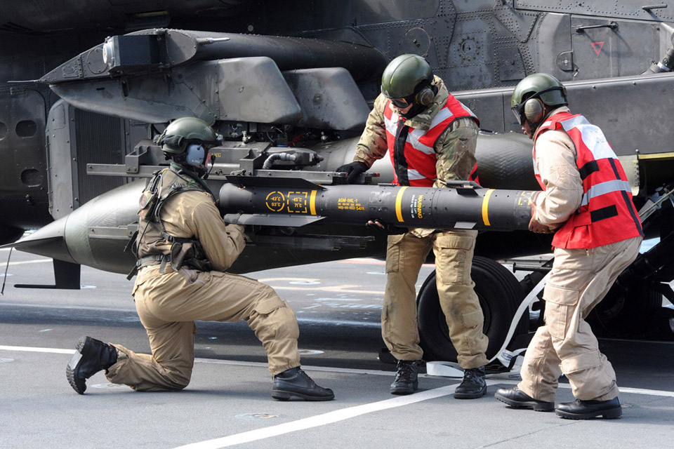 Hellfire missiles being loaded onto an Apache helicopter