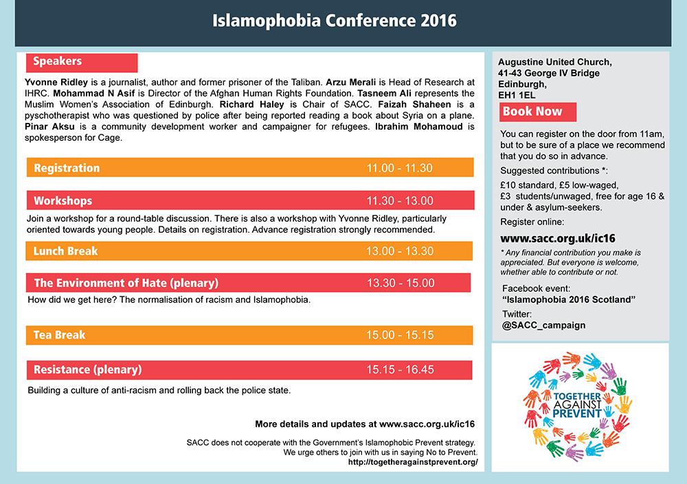 Islamophobia Conference 1016 Programme