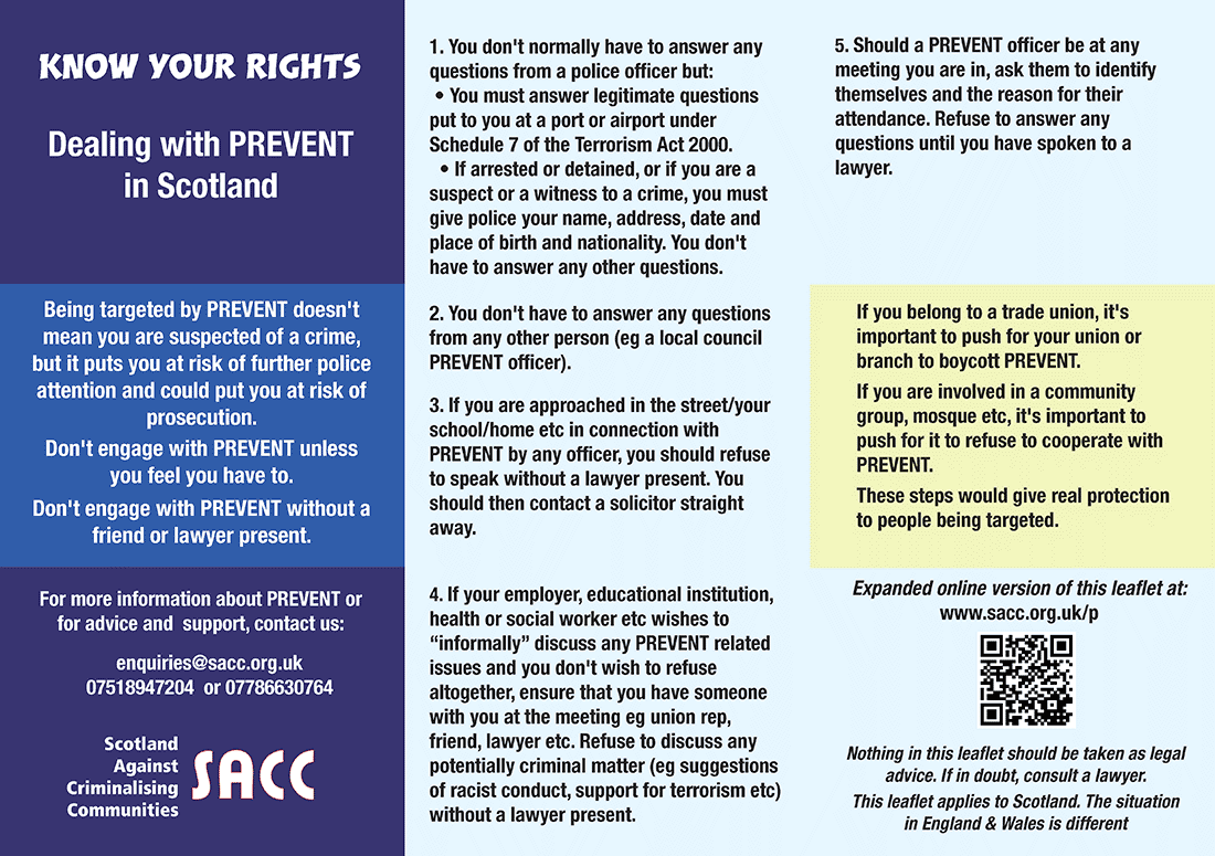Know your rights under Prevent