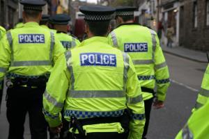 Police at a demo against the fascist SDL, Edinburgh, June 2013