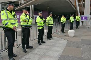 Police outside the Scottish Parliament, 2013