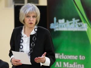 Theresa May at  Al Madina Mosque, east London