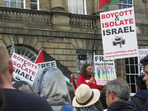 Freedom for Palestine - outside the First Ministers house