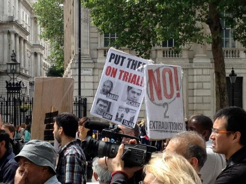Put them on trial in Britain - demo against extradition