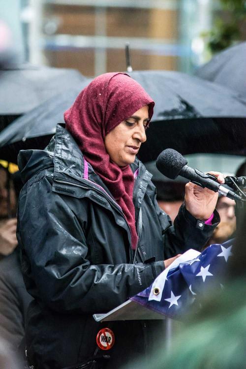 Tasneem Ali, Muslim Women's Association of Edinburgh, stands with Orlando