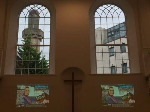 Edinburgh Central mosque, viewd though the windows of the Islamophobia Conference venue